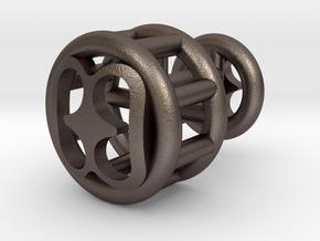 Bibi Wo Soro Lattice Cuff Link in Polished Bronzed Silver Steel