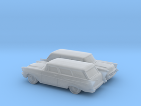 1/160 2X 1957 Chevrolet Bel Air Nomad in Smooth Fine Detail Plastic