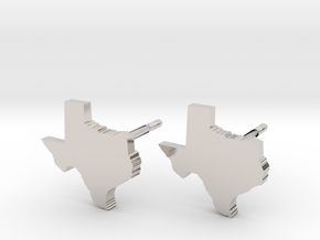 Texas State Earrings, post style in Platinum
