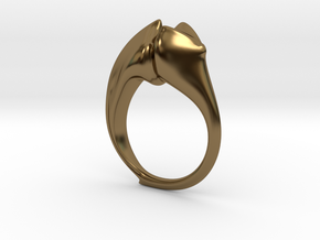 Beetle Horn Ring in Polished Bronze: 4 / 46.5