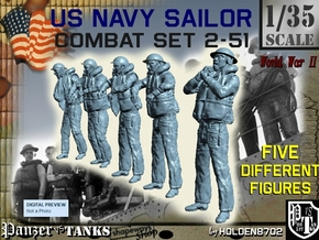1-35 US Navy Sailors Combat SET 2-51 in Smooth Fine Detail Plastic