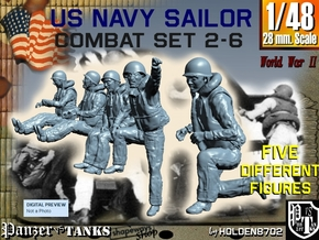 1-48 US Navy Sailors Combat SET 2-6 in Smooth Fine Detail Plastic