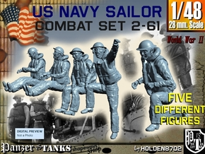1-48 US Navy Sailors Combat SET 2-61 in Smooth Fine Detail Plastic