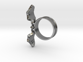 Flying Bat Charm Ring in Polished Silver (Interlocking Parts): 5 / 49