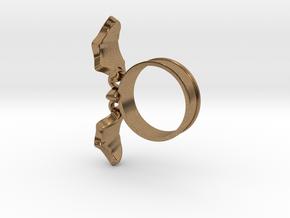 Flying Bat Charm Ring in Interlocking Raw Brass: 5 / 49