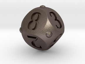 Round Roller Dice in Polished Bronzed Silver Steel: d8