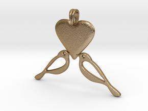 LOVE Birds Symbol Customizable Initial Monogram  in Polished Gold Steel