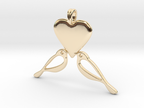 LOVE Birds Symbol Customizable Initial Monogram  in 14K Yellow Gold