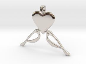 LOVE Birds Symbol Customizable Initial Monogram  in Rhodium Plated Brass