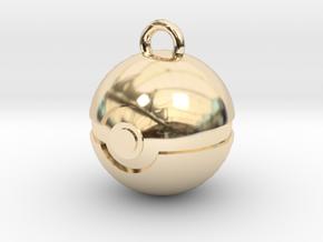 Pokeball Pendant in 14K Yellow Gold