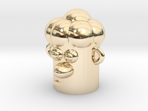 Cartoonish Human Head in 14K Yellow Gold
