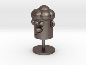 Cartoonish Human Head W/ Stand in Polished Bronzed Silver Steel
