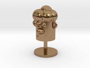 Cartoonish Human Head W/ Stand in Natural Brass