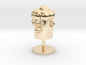 Cartoonish Human Head W/ Stand in 14K Yellow Gold