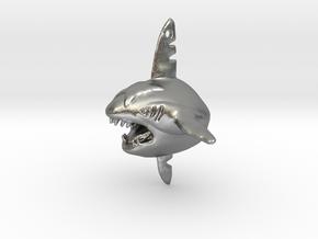 Sharpedo Key Charm in Natural Silver