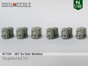 SET 6x Dzkr 501 Behälter (FLM/MTX) (N 1:160) in Smooth Fine Detail Plastic