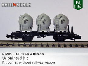 SET 3x Edzkr 571 Behälter (FLM/MTX) (N 1:160) in Smooth Fine Detail Plastic
