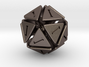 The D20 of Fail in Polished Bronzed Silver Steel