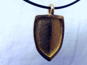 Strong Shield Pendant  in Polished Gold Steel