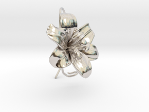 AirCharm Lily Flower - Left in Rhodium Plated Brass