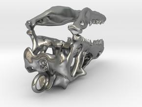 Velociraptor dinosaur skull pendant in Natural Silver