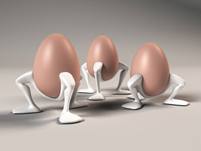 "Egg cup ""Leggies"" in White Processed Versatile Plastic"