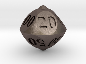 Round Roller Dice in Polished Bronzed Silver Steel: d00