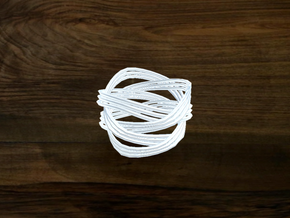 Turk's Head Knot Ring 4 Part X 3 Bight - Size 6 in White Natural Versatile Plastic