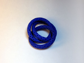3 Interlocked Lattice Rings in Blue Processed Versatile Plastic