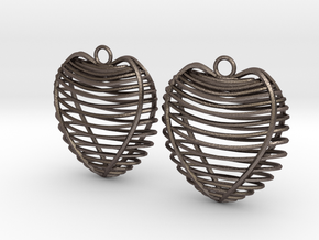 Heart cage in Polished Bronzed Silver Steel