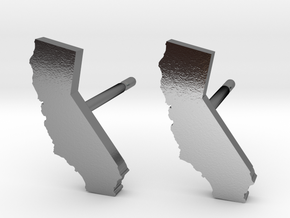 California State Earrings, post style in Polished Silver