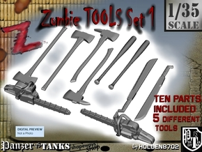 1-35 Zombie Tools Set 001 in Smooth Fine Detail Plastic