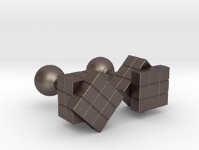 Rubik Cu(be)fflinks in Polished Bronzed Silver Steel