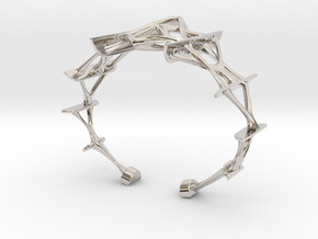 Synapse Bracelet in Rhodium Plated Brass: Small