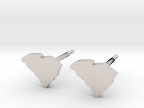 South Carolina State Earrings, post style in Platinum