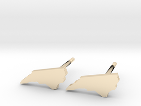 North Carolina State Earrings, post style in 14k Gold Plated Brass