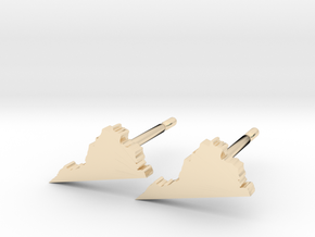 Virginia State Earrings, post style in 14K Yellow Gold