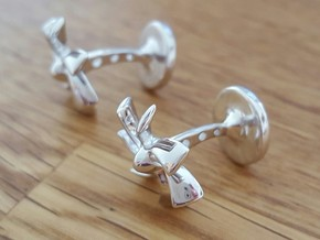 Turbine Cufflinks in Polished Silver