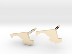 Maryland State Earrings, post style in 14k Gold Plated Brass