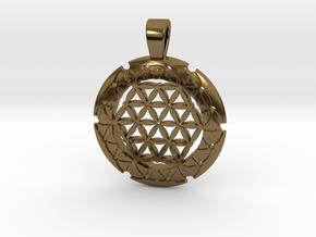 S Flower Of Life-Fleur De Vie in Polished Bronze