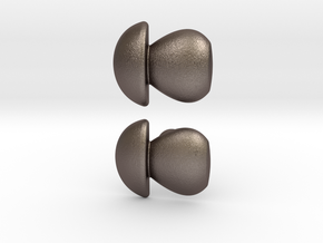Penny Bun Mushroom Cufflinks in Polished Bronzed Silver Steel