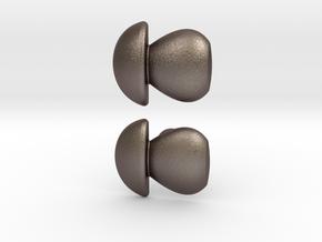 Penny Bun Mushroom Cufflinks in Polished Bronzed Silver Steel