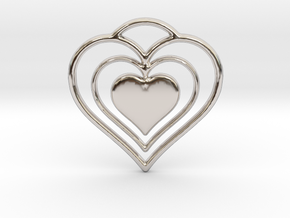 Solid Heart in Rhodium Plated Brass