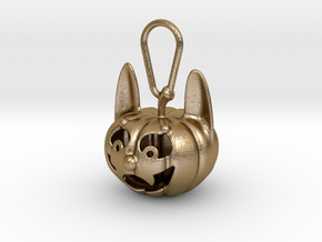 Werewolf Pumpkin Keychain Halloween in Polished Gold Steel