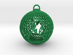 3D Printed Block Island Ball Ornament in Green Strong & Flexible Polished