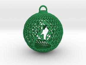 3D Printed Block Island Ball Ornament in Green Processed Versatile Plastic