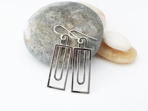 Simple Geometry - Modern Earrings in Fine Metal in Polished Silver