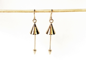 Earrings - Pendulum Dangle Earrings in Polished Bronze (Interlocking Parts)