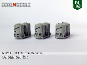 SET 3x Dzkr 501 Behälter (Roco) (N 1:160) in Frosted Ultra Detail