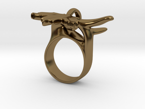 Maple Leaf Charm Ring in Interlocking Polished Bronze: 5 / 49